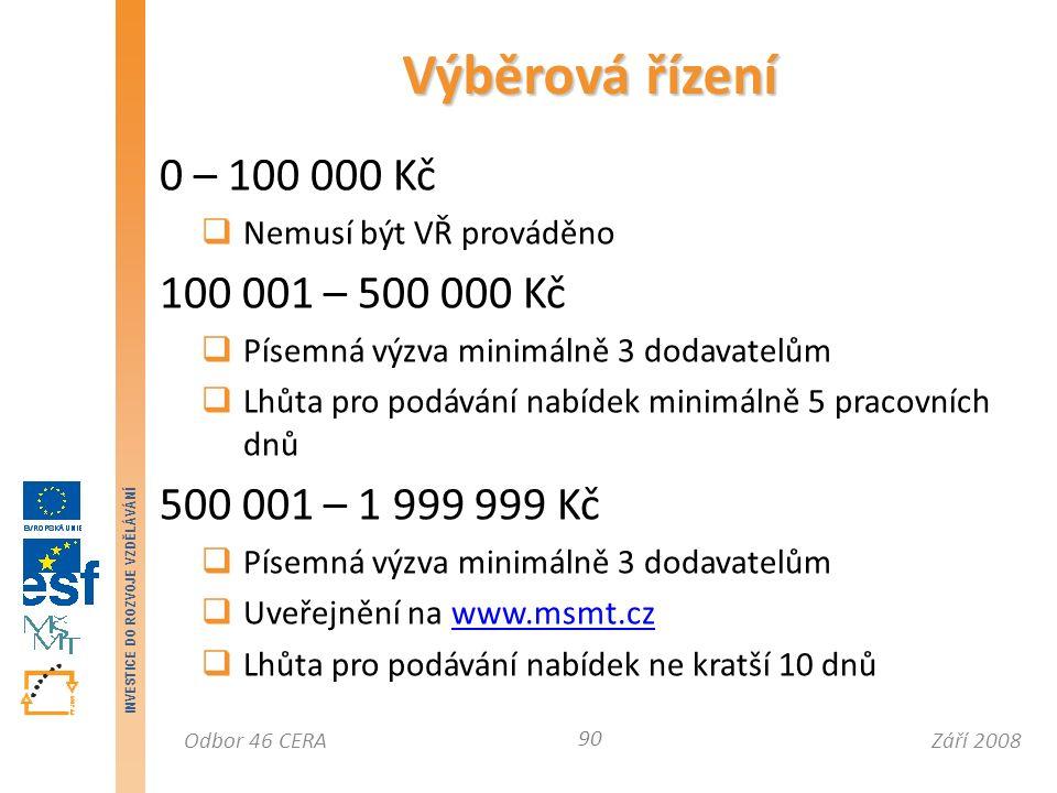 Září 2008Odbor 46 CERA INVESTICE DO ROZVOJE VZDĚLÁVÁNÍ 0 – 100 000 Kč  Nemusí být VŘ prováděno 100 001 – 500 000 Kč  Písemná výzva minimálně 3 dodavatelům  Lhůta pro podávání nabídek minimálně 5 pracovních dnů 500 001 – 1 999 999 Kč  Písemná výzva minimálně 3 dodavatelům  Uveřejnění na www.msmt.czwww.msmt.cz  Lhůta pro podávání nabídek ne kratší 10 dnů Výběrová řízení 90