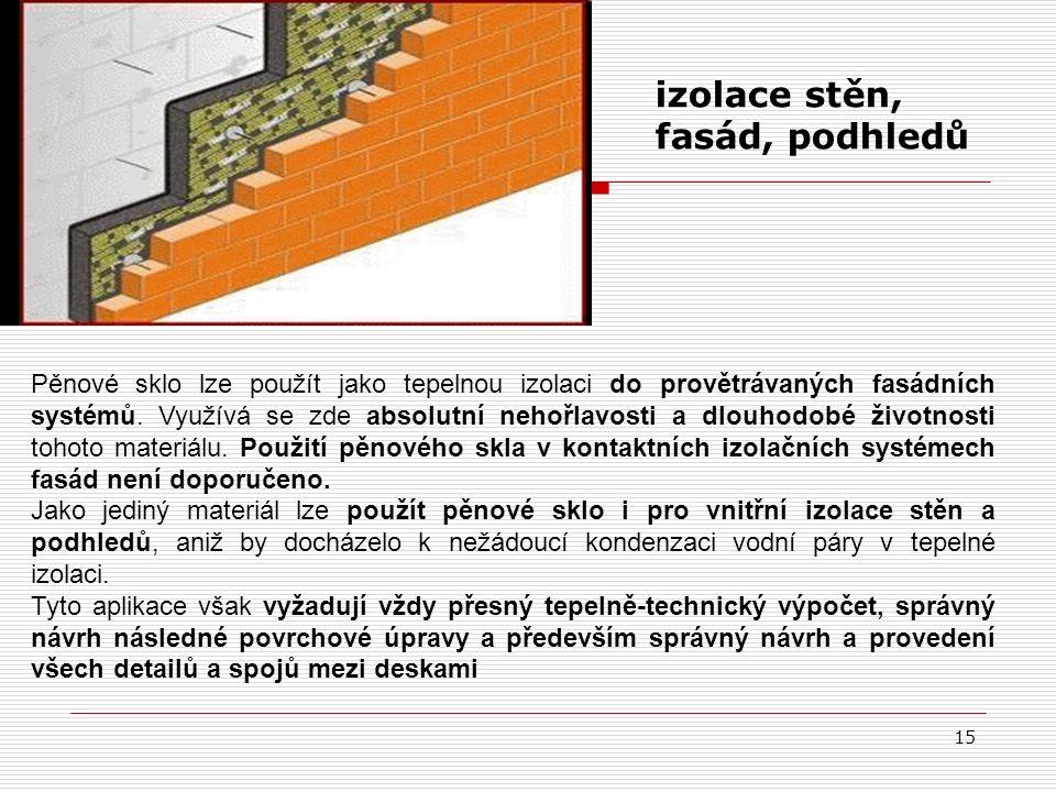 15 izolace stěn, fasád, podhledů Pěnové sklo lze použít jako tepelnou izolaci do provětrávaných fasádních systémů. Využívá se zde absolutní nehořlavos