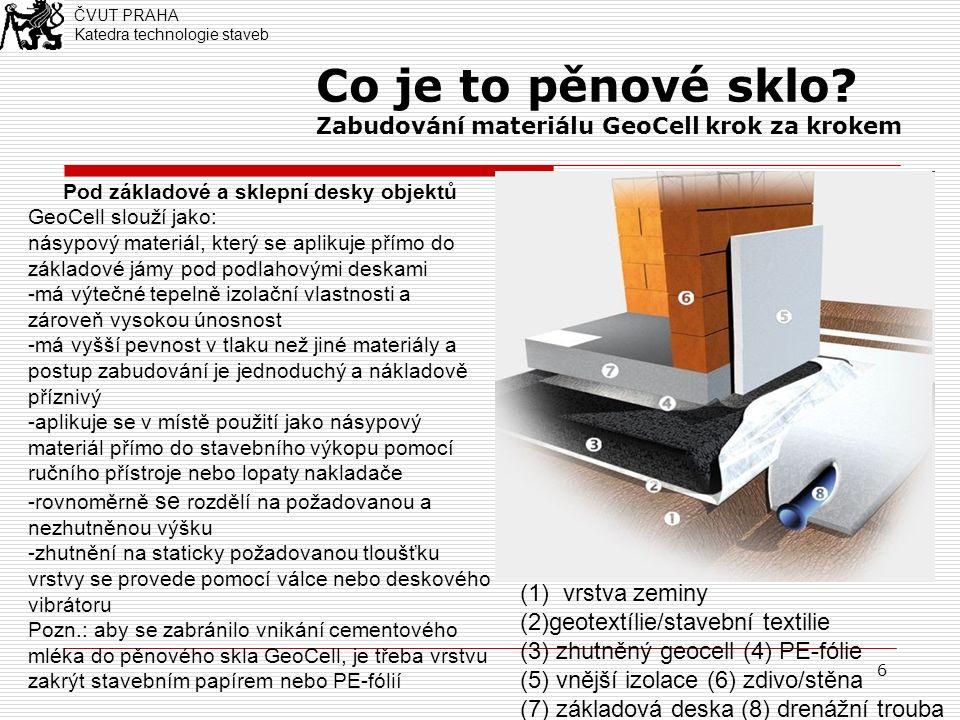 6 Co je to pěnové sklo? Zabudování materiálu GeoCell krok za krokem Pod základové a sklepní desky objektů GeoCell slouží jako: násypový materiál, kter
