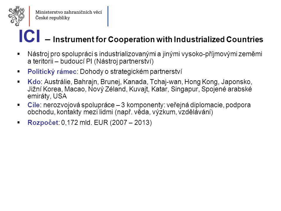 ICI – Instrument for Cooperation with Industrialized Countries  Nástroj pro spolupráci s industrializovanými a jinými vysoko-příjmovými zeměmi a teri