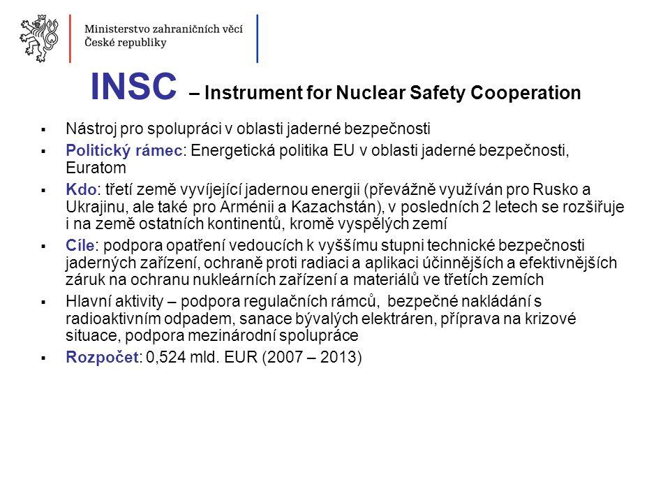 INSC – Instrument for Nuclear Safety Cooperation  Nástroj pro spolupráci v oblasti jaderné bezpečnosti  Politický rámec: Energetická politika EU v o