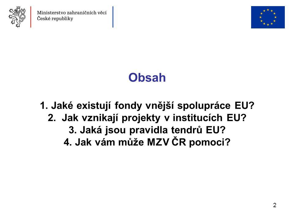 2 Obsah 1. Jaké existují fondy vnější spolupráce EU? 2. Jak vznikají projekty v institucích EU? 3. Jaká jsou pravidla tendrů EU? 4. Jak vám může MZV Č