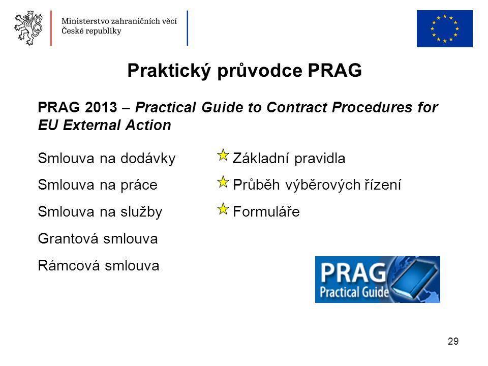 29 Praktický průvodce PRAG PRAG 2013 – Practical Guide to Contract Procedures for EU External Action Smlouva na dodávkyZákladní pravidla Smlouva na pr