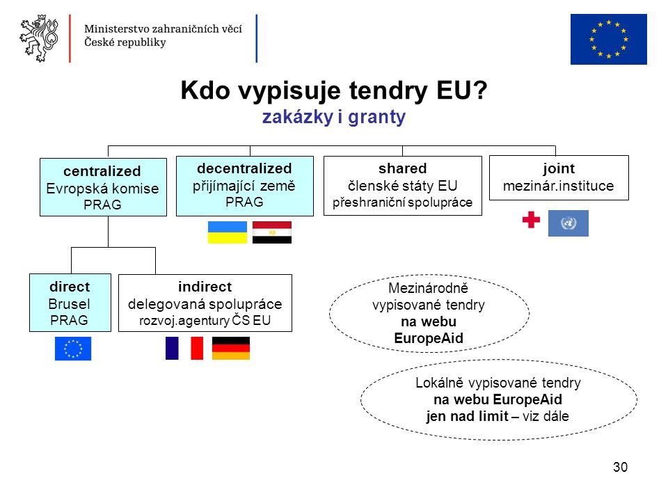 30 Lokálně vypisované tendry na webu EuropeAid jen nad limit – viz dále Kdo vypisuje tendry EU? zakázky i granty centralized Evropská komise PRAG join