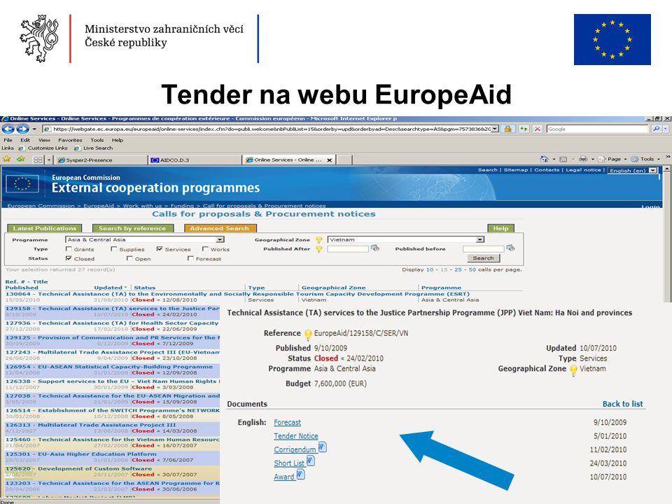36 Tender na webu EuropeAid