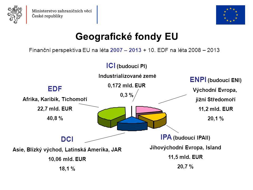 Geografické fondy EU Finanční perspektiva EU na léta 2007 – 2013 + 10. EDF na léta 2008 – 2013 DCI Asie, Blízký východ, Latinská Amerika, JAR 10,06 ml