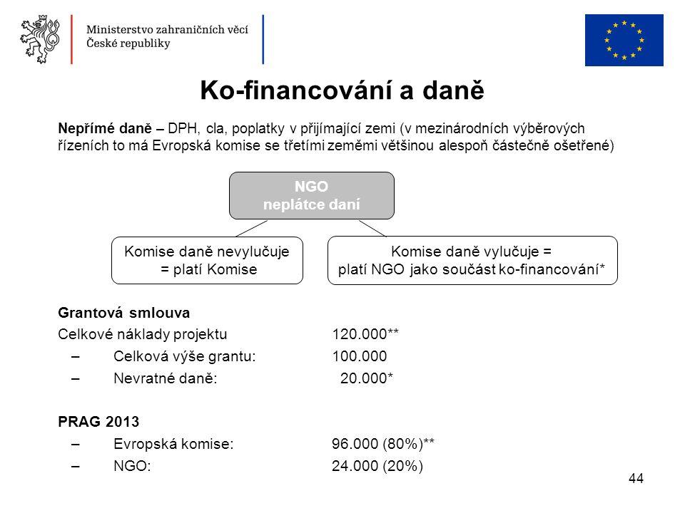 44 Ko-financování a daně Grantová smlouva Celkové náklady projektu 120.000** –Celková výše grantu: 100.000 –Nevratné daně: 20.000* PRAG 2013 –Evropská