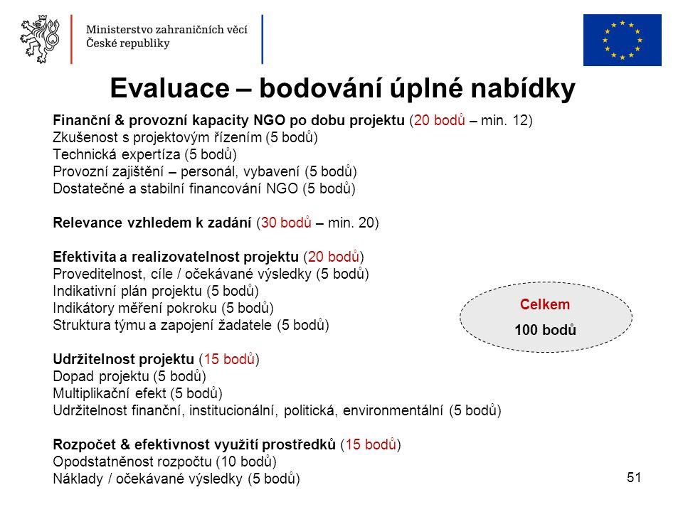 51 Finanční & provozní kapacity NGO po dobu projektu (20 bodů – min. 12) Zkušenost s projektovým řízením (5 bodů) Technická expertíza (5 bodů) Provozn