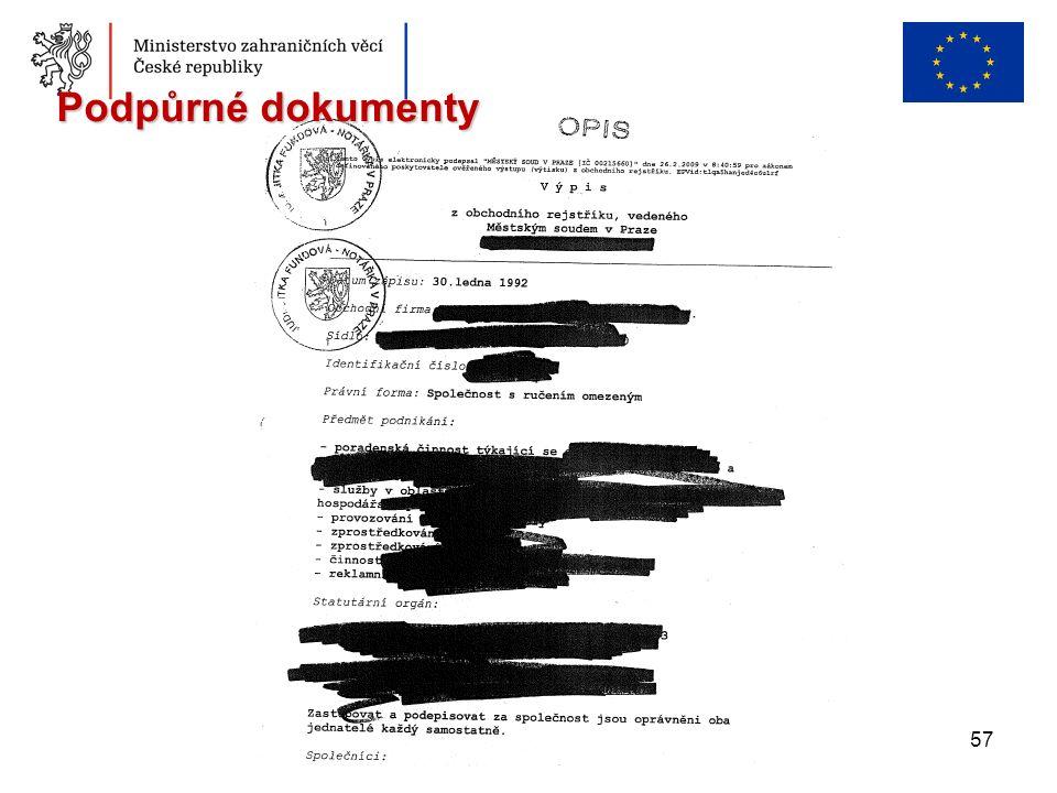 57 Podpůrné dokumenty