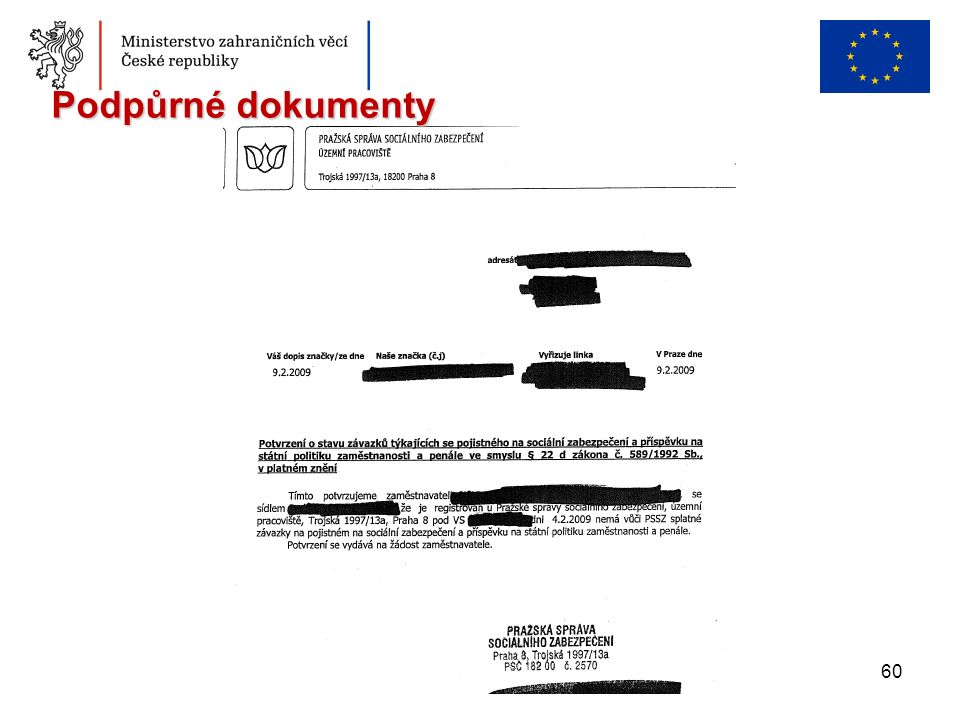 60 Podpůrné dokumenty
