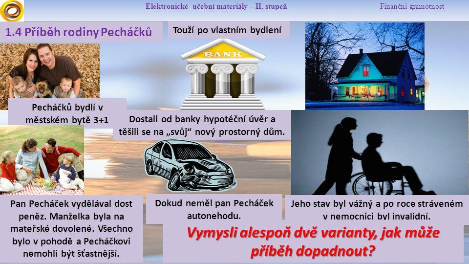 Elektronické učební materiály - II. stupeň Finanční gramotnost 1.4 Příběh rodiny Pecháčků Pecháčků bydlí v městském bytě 3+1 Dostali od banky hypotéčn