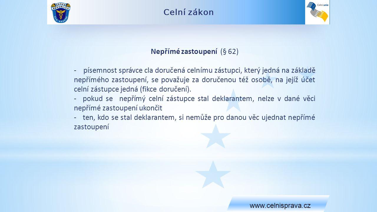 Celní zákon www.celnisprava.cz Nepřímé zastoupení (§ 62) - písemnost správce cla doručená celnímu zástupci, který jedná na základě nepřímého zastoupení, se považuje za doručenou též osobě, na jejíž účet celní zástupce jedná (fikce doručení).