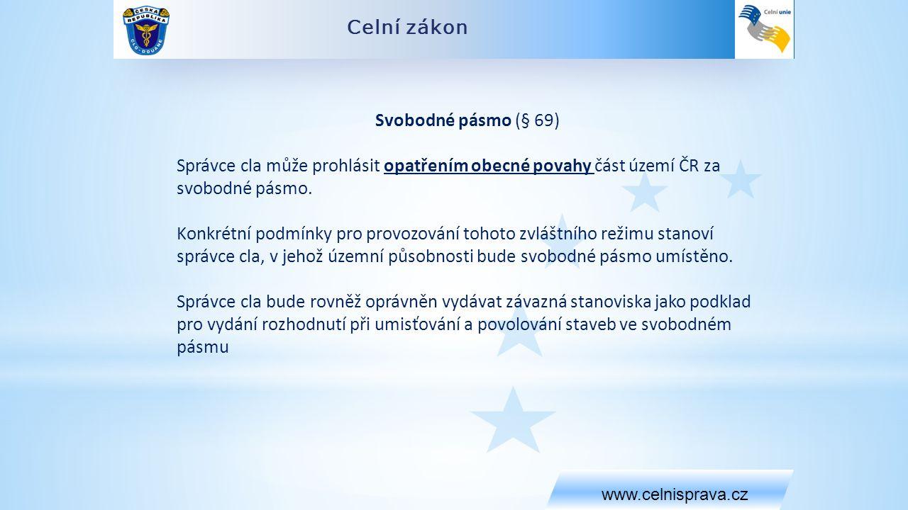 Celní zákon www.celnisprava.cz Svobodné pásmo (§ 69) Správce cla může prohlásit opatřením obecné povahy část území ČR za svobodné pásmo.
