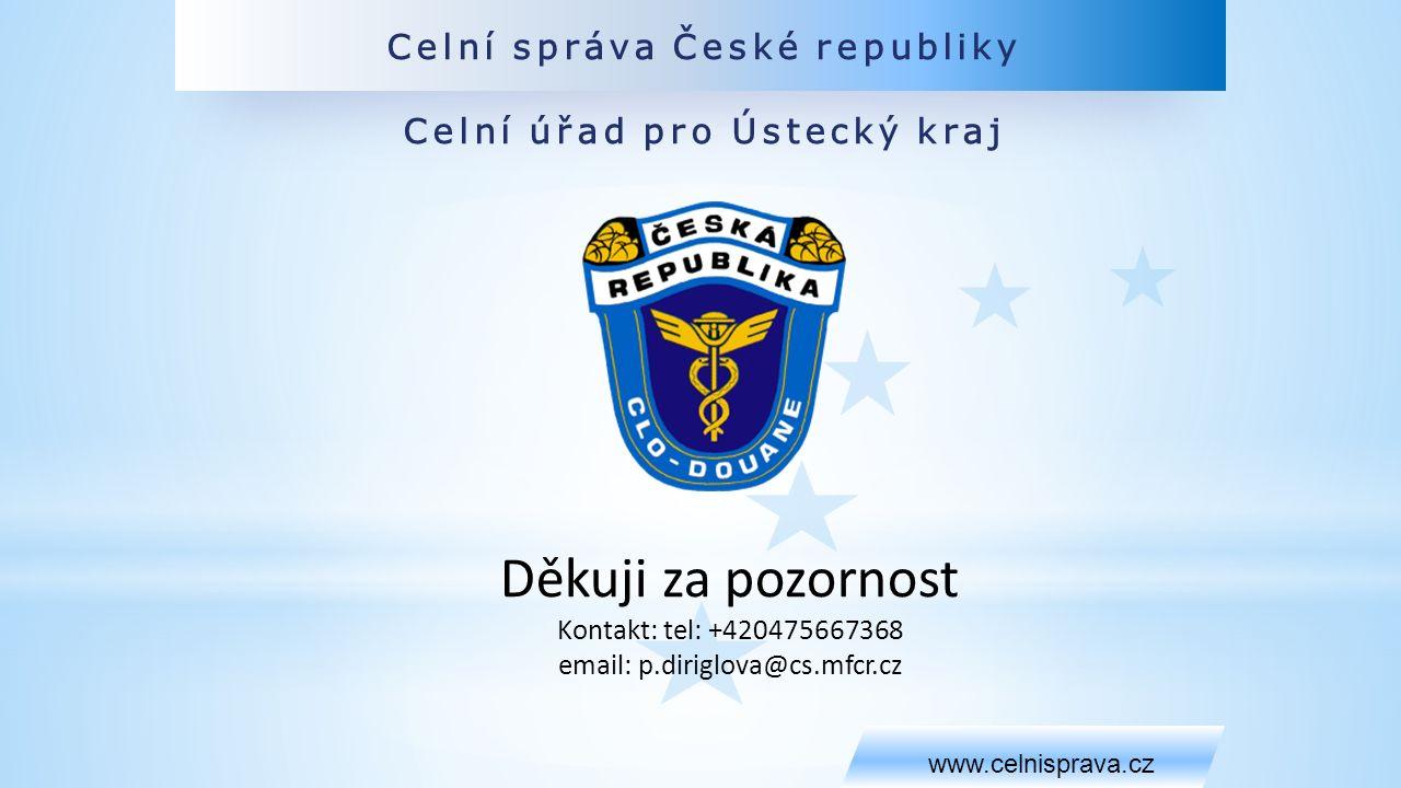 Celní správa České republiky Celní úřad pro Ústecký kraj www.celnisprava.cz Děkuji za pozornost Kontakt: tel: +420475667368 email: p.diriglova@cs.mfcr.cz