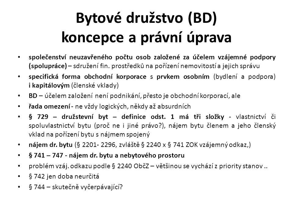 Bytové družstvo (BD) koncepce a právní úprava společenství neuzavřeného počtu osob založené za účelem vzájemné podpory (spolupráce) – sdružení fin.