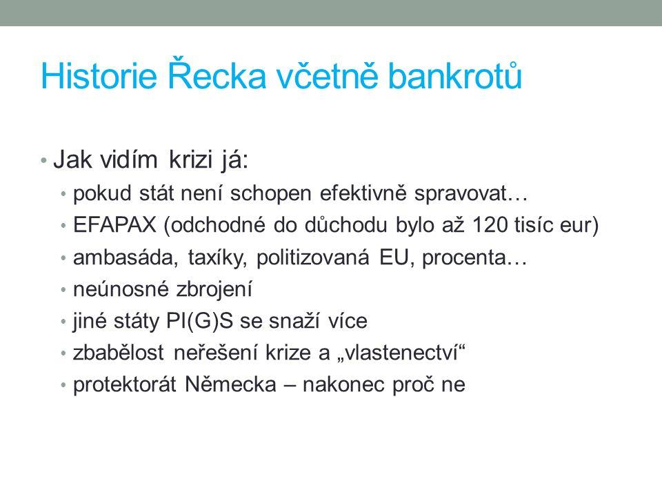 Historie Řecka včetně bankrotů Jak vidím krizi já: pokud stát není schopen efektivně spravovat… EFAPAX (odchodné do důchodu bylo až 120 tisíc eur) amb