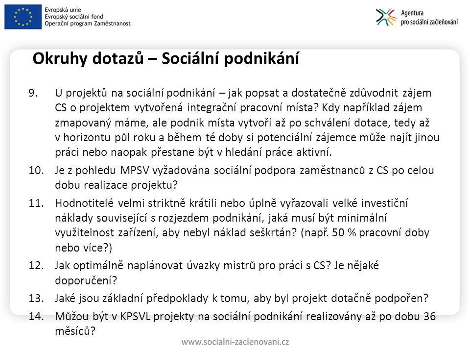 Okruhy dotazů – Sociální podnikání 9.U projektů na sociální podnikání – jak popsat a dostatečně zdůvodnit zájem CS o projektem vytvořená integrační pracovní místa.