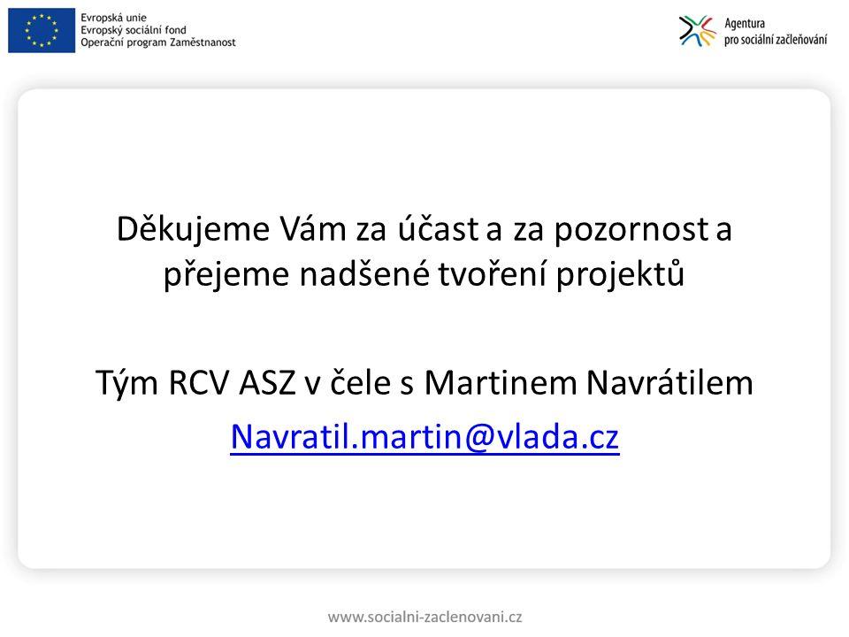Děkujeme Vám za účast a za pozornost a přejeme nadšené tvoření projektů Tým RCV ASZ v čele s Martinem Navrátilem Navratil.martin@vlada.cz