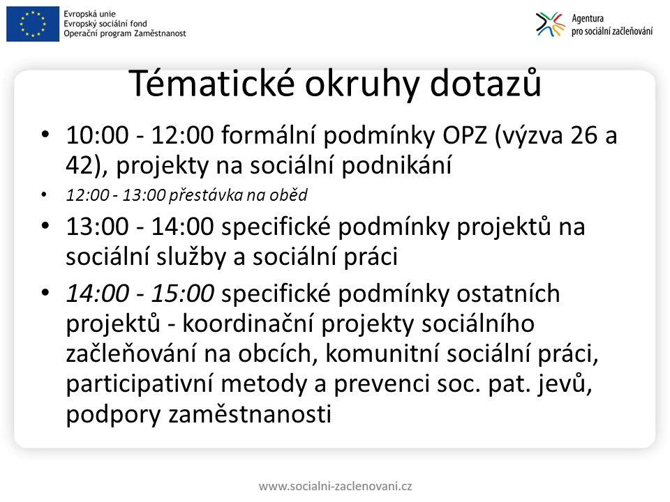 Tématické okruhy dotazů 10:00 - 12:00 formální podmínky OPZ (výzva 26 a 42), projekty na sociální podnikání 12:00 - 13:00 přestávka na oběd 13:00 - 14:00 specifické podmínky projektů na sociální služby a sociální práci 14:00 - 15:00 specifické podmínky ostatních projektů - koordinační projekty sociálního začleňování na obcích, komunitní sociální práci, participativní metody a prevenci soc.