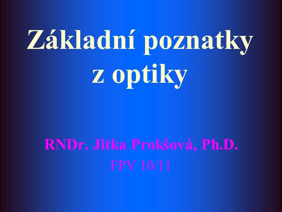 Základní poznatky z optiky RNDr. Jitka Prokšová, Ph.D. FPV 10/11