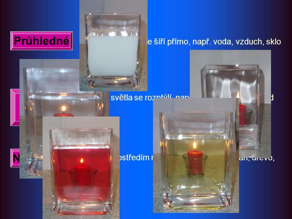 světlo se ze zdroje šíří přímo, např. voda, vzduch, sklo část světla se rozptýlí, např. kouř, mléko, med, led světlo prostředím neprochází, např. porc