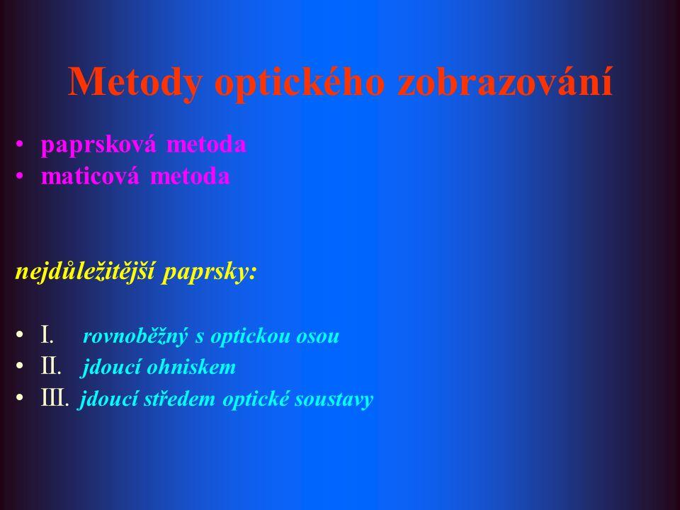 paprsková metoda maticová metoda nejdůležitější paprsky: I. rovnoběžný s optickou osou II. jdoucí ohniskem III. jdoucí středem optické soustavy Metody