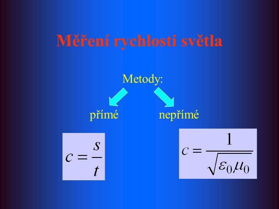 Měření rychlosti světla Metody: přímé nepřímé