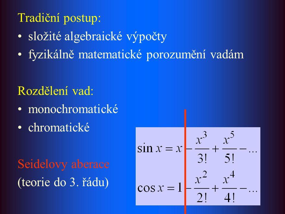 Tradiční postup: složité algebraické výpočty fyzikálně matematické porozumění vadám Rozdělení vad: monochromatické chromatické Seidelovy aberace (teorie do 3.