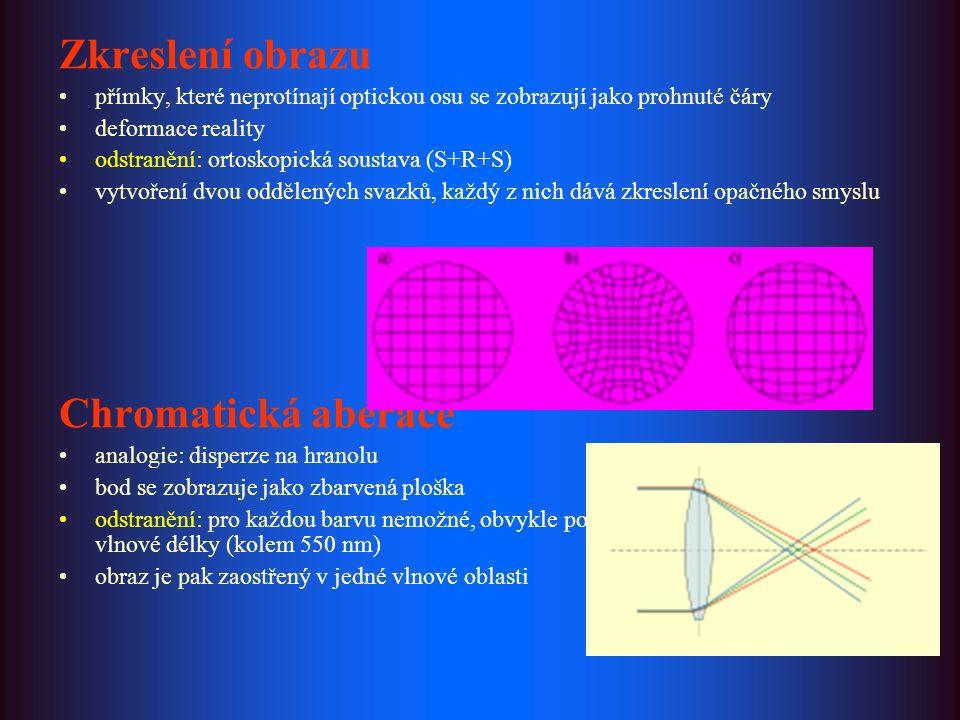 Zkreslení obrazu přímky, které neprotínají optickou osu se zobrazují jako prohnuté čáry deformace reality odstranění: ortoskopická soustava (S+R+S) vytvoření dvou oddělených svazků, každý z nich dává zkreslení opačného smyslu Chromatická aberace analogie: disperze na hranolu bod se zobrazuje jako zbarvená ploška odstranění: pro každou barvu nemožné, obvykle postačuje achromatizace pro 2 až 3 vlnové délky (kolem 550 nm) obraz je pak zaostřený v jedné vlnové oblasti