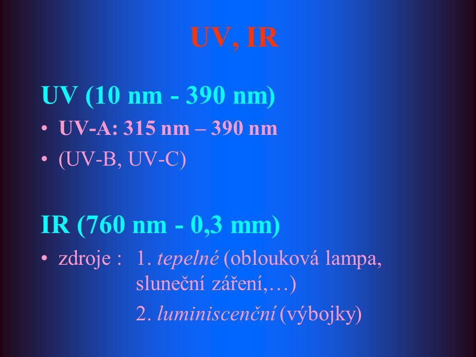 UV, IR UV (10 nm - 390 nm) UV-A: 315 nm – 390 nm (UV-B, UV-C) IR (760 nm - 0,3 mm) zdroje : 1. tepelné (oblouková lampa, sluneční záření,…) 2. luminis
