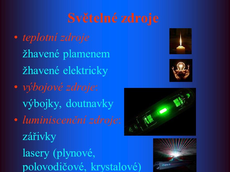 Světelné zdroje teplotní zdroje žhavené plamenem žhavené elektricky výbojové zdroje: výbojky, doutnavky luminiscenční zdroje: zářivky lasery (plynové, polovodičové, krystalové)