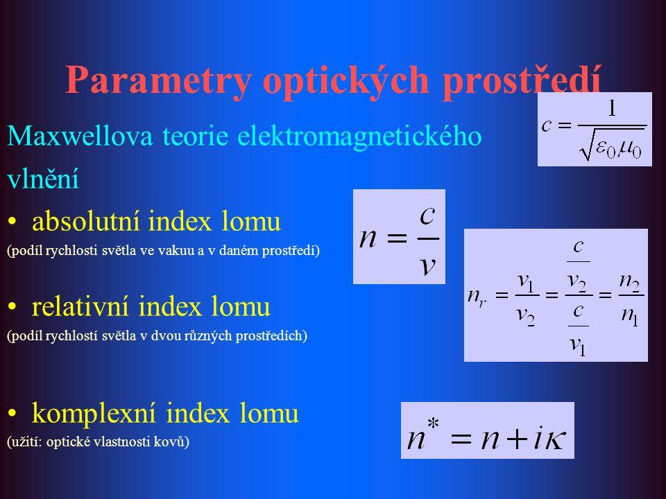 Parametry optických prostředí Maxwellova teorie elektromagnetického vlnění absolutní index lomu (podíl rychlosti světla ve vakuu a v daném prostředí) relativní index lomu (podíl rychlostí světla v dvou různých prostředích) komplexní index lomu (užití: optické vlastnosti kovů)