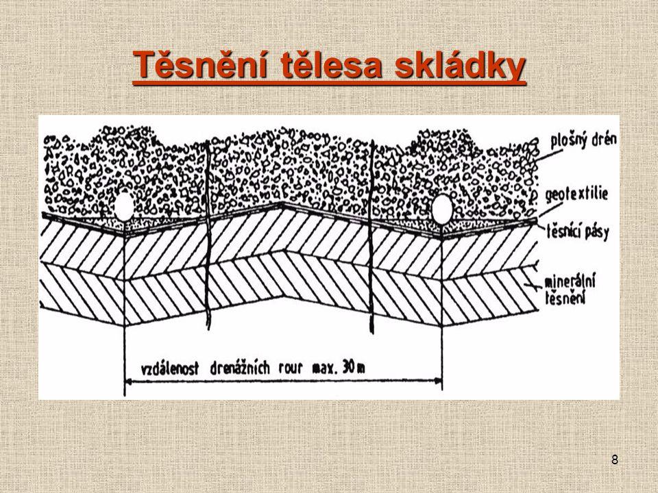 Zabezpečení skládky Minerální těsnění – jílová vrstva (10 -9 m.s -1 ) tloušťka min.