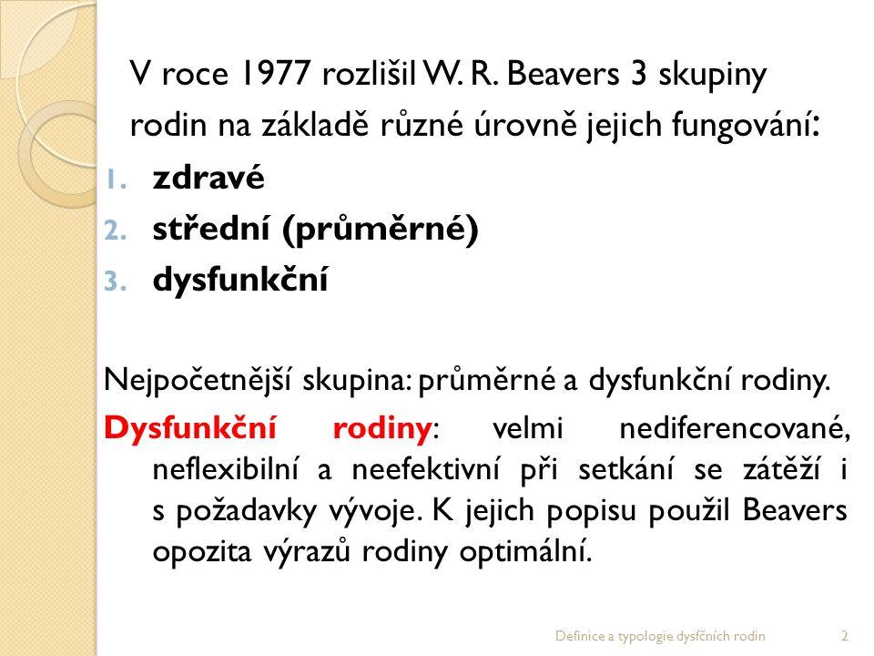 V roce 1977 rozlišil W. R. Beavers 3 skupiny rodin na základě různé úrovně jejich fungování : 1.