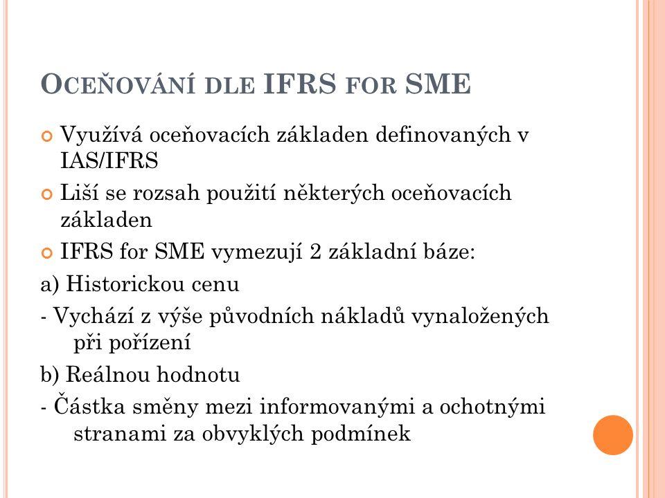 O CEŇOVÁNÍ DLE IFRS FOR SME Využívá oceňovacích základen definovaných v IAS/IFRS Liší se rozsah použití některých oceňovacích základen IFRS for SME vymezují 2 základní báze: a) Historickou cenu - Vychází z výše původních nákladů vynaložených při pořízení b) Reálnou hodnotu - Částka směny mezi informovanými a ochotnými stranami za obvyklých podmínek
