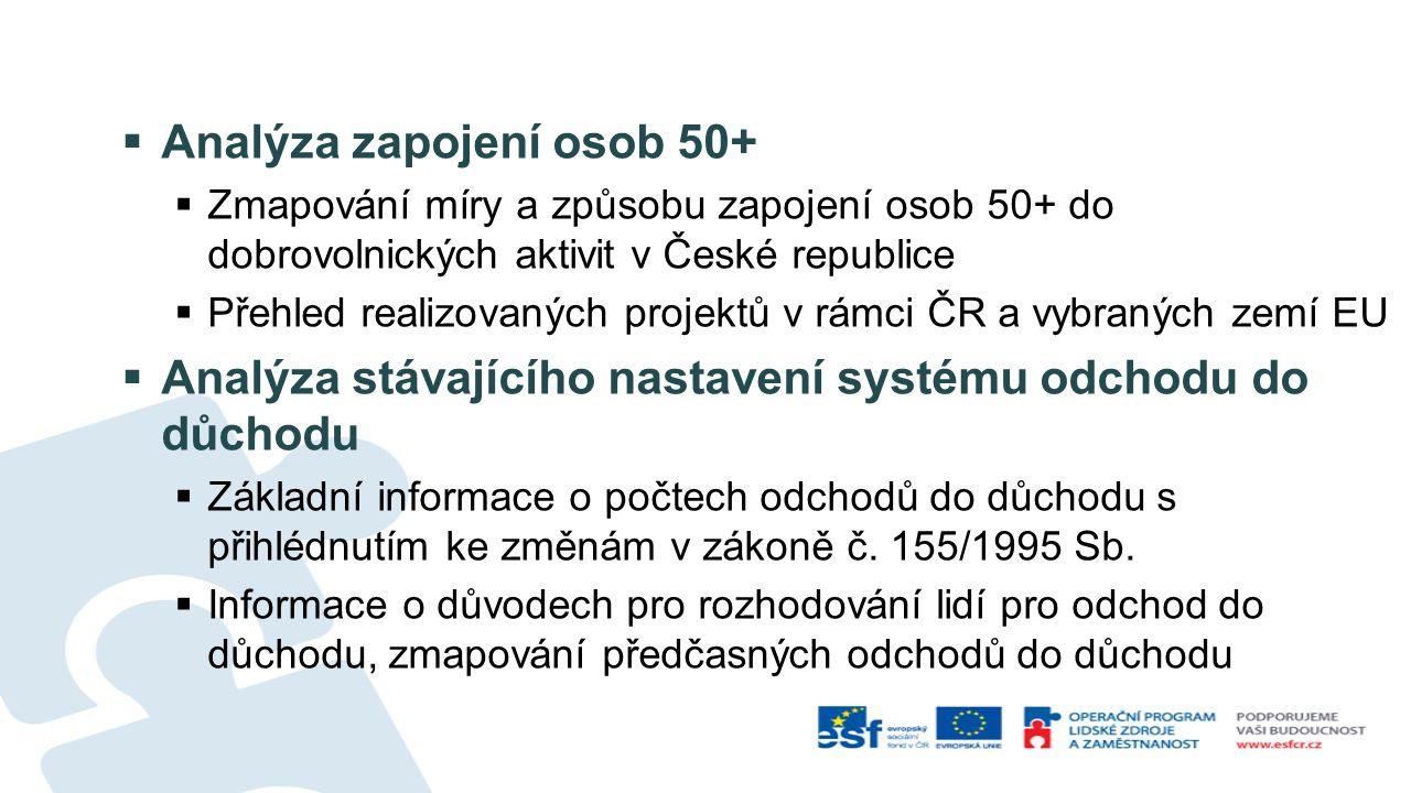  Analýza zapojení osob 50+  Zmapování míry a způsobu zapojení osob 50+ do dobrovolnických aktivit v České republice  Přehled realizovaných projektů