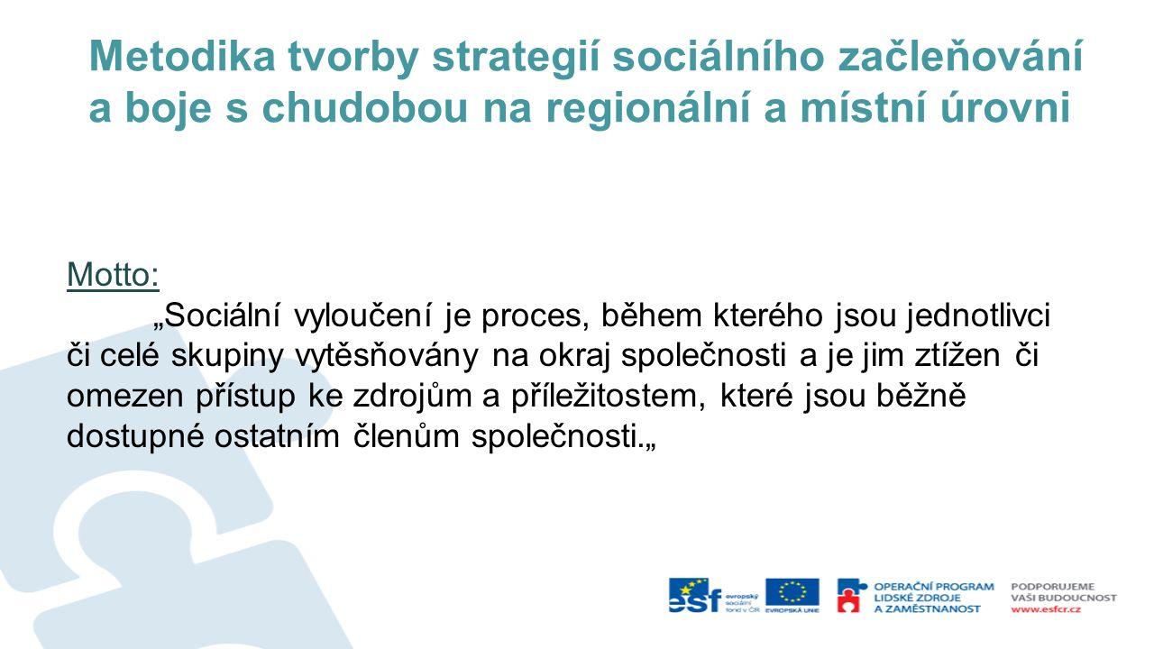 """Metodika tvorby strategií sociálního začleňování a boje s chudobou na regionální a místní úrovni Motto: """"Sociální vyloučení je proces, během kterého j"""