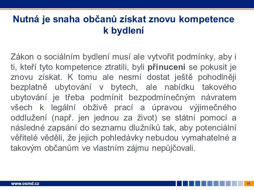 11 www.osmd.cz Nutná je snaha občanů získat znovu kompetence k bydlení Zákon o sociálním bydlení musí ale vytvořit podmínky, aby i ti, kteří tyto kompetence ztratili, byli přinuceni se pokusit je znovu získat.