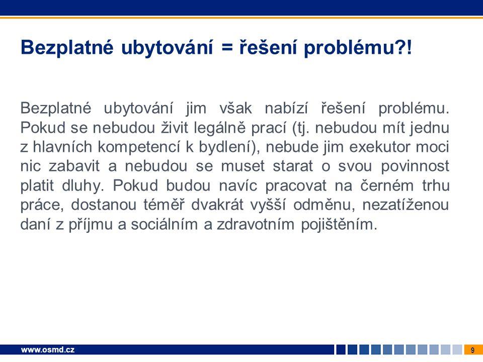 10 www.osmd.cz Občany s kompetencemi k bydlení stačí finančně podpořit Připravovaný zákon o sociálním bydlení tedy nemusí měnit řešení problému občanů, kteří mají kompetence k bydlení, což vyplývá i ze stanoviska sdružení nájemníků.