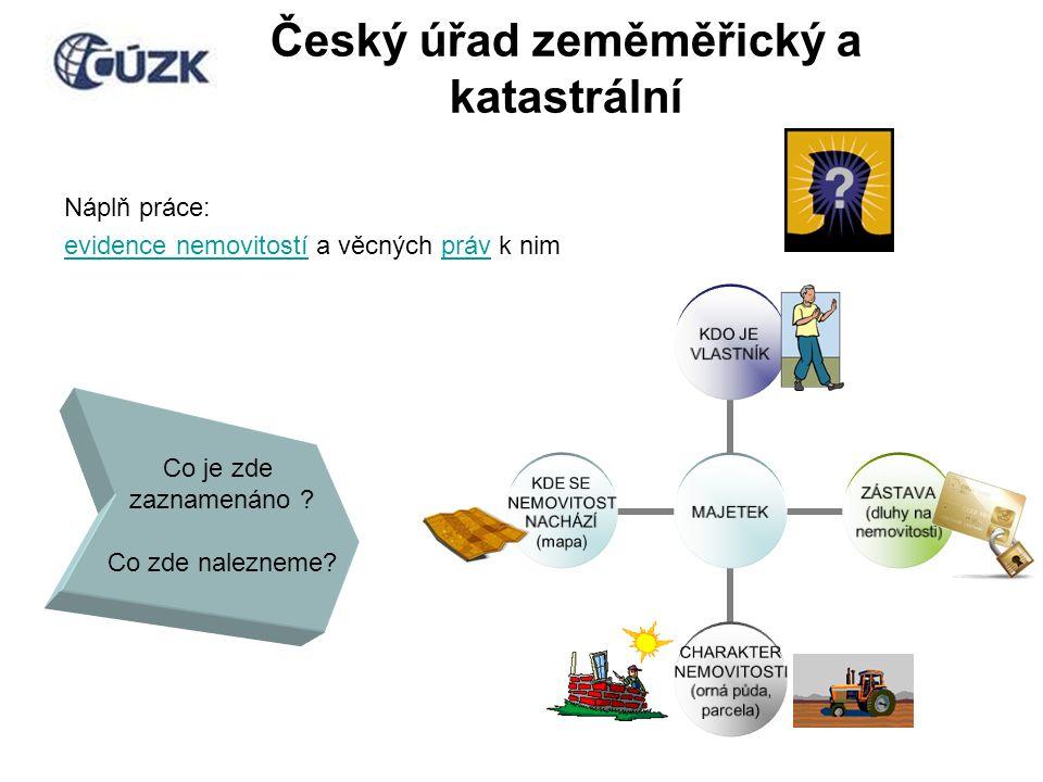 Český úřad zeměměřický a katastrální Náplň práce: evidence nemovitostíevidence nemovitostí a věcných práv k nimpráv MAJETEK KDO JE VLASTNÍK ZÁSTAVA (dluhy na nemovitosti) CHARAKTER NEMOVITOSTI (orná půda, parcela) KDE SE NEMOVITOST NACHÁZÍ (mapa) Co je zde zaznamenáno .