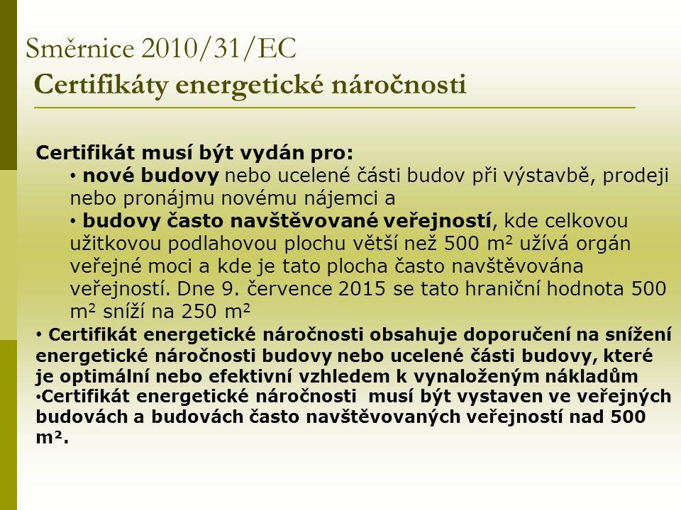 Směrnice 2010/31/EC Certifikáty energetické náročnosti Certifikát musí být vydán pro: nové budovy nebo ucelené části budov při výstavbě, prodeji nebo pronájmu novému nájemci a budovy často navštěvované veřejností, kde celkovou užitkovou podlahovou plochu větší než 500 m 2 užívá orgán veřejné moci a kde je tato plocha často navštěvována veřejností.