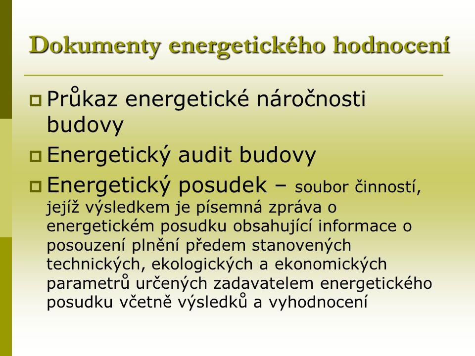 Dokumenty energetického hodnocení  Průkaz energetické náročnosti budovy  Energetický audit budovy  Energetický posudek – soubor činností, jejíž výsledkem je písemná zpráva o energetickém posudku obsahující informace o posouzení plnění předem stanovených technických, ekologických a ekonomických parametrů určených zadavatelem energetického posudku včetně výsledků a vyhodnocení