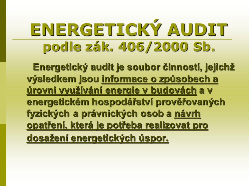 ENERGETICKÝ AUDIT podle zák. 406/2000 Sb.