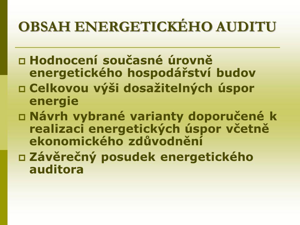 OBSAH ENERGETICKÉHO AUDITU  Hodnocení současné úrovně energetického hospodářství budov  Celkovou výši dosažitelných úspor energie  Návrh vybrané varianty doporučené k realizaci energetických úspor včetně ekonomického zdůvodnění  Závěrečný posudek energetického auditora