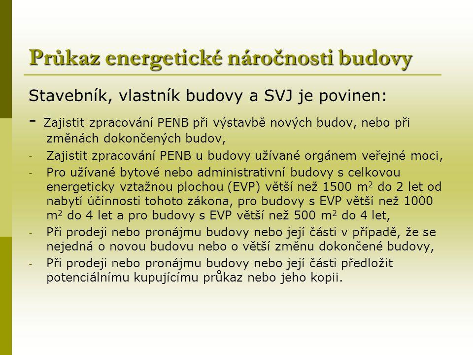 Průkaz energetické náročnosti budovy Stavebník, vlastník budovy a SVJ je povinen: - Zajistit zpracování PENB při výstavbě nových budov, nebo při změnách dokončených budov, - Zajistit zpracování PENB u budovy užívané orgánem veřejné moci, - Pro užívané bytové nebo administrativní budovy s celkovou energeticky vztažnou plochou (EVP) větší než 1500 m 2 do 2 let od nabytí účinnosti tohoto zákona, pro budovy s EVP větší než 1000 m 2 do 4 let a pro budovy s EVP větší než 500 m 2 do 4 let, - Při prodeji nebo pronájmu budovy nebo její části v případě, že se nejedná o novou budovu nebo o větší změnu dokončené budovy, - Při prodeji nebo pronájmu budovy nebo její části předložit potenciálnímu kupujícímu průkaz nebo jeho kopii.