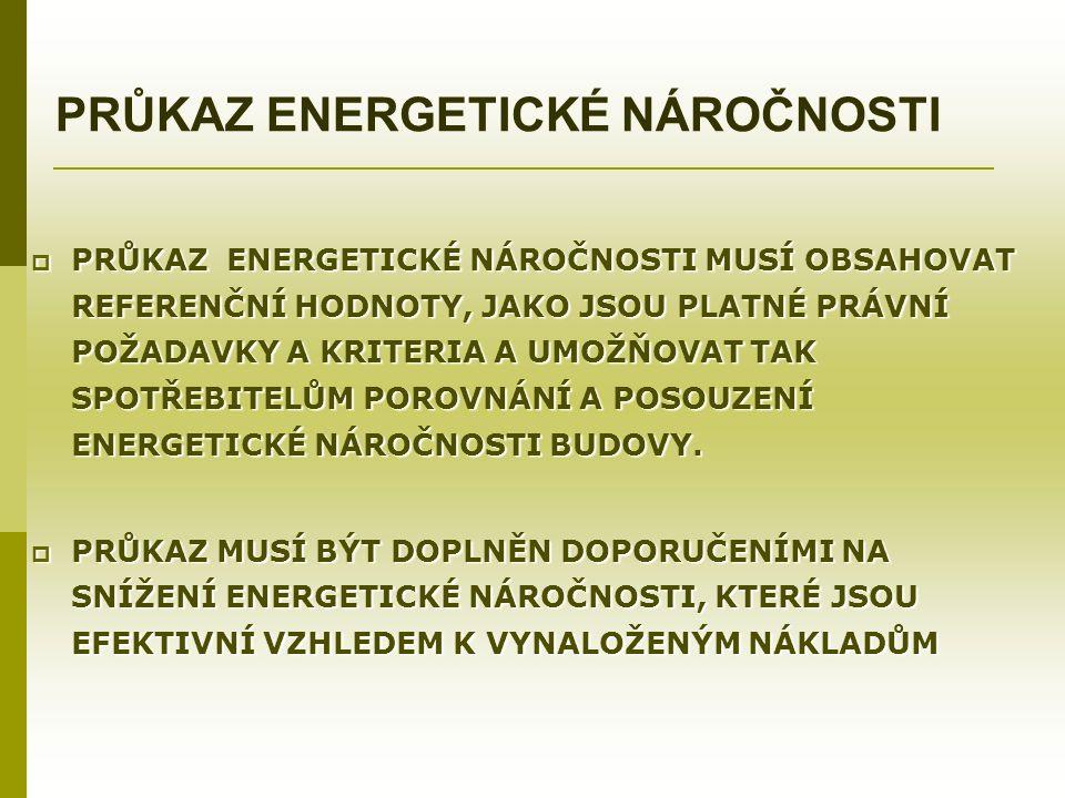 PRŮKAZ ENERGETICKÉ NÁROČNOSTI  PRŮKAZ ENERGETICKÉ NÁROČNOSTI MUSÍ OBSAHOVAT REFERENČNÍ HODNOTY, JAKO JSOU PLATNÉ PRÁVNÍ POŽADAVKY A KRITERIA A UMOŽŇOVAT TAK SPOTŘEBITELŮM POROVNÁNÍ A POSOUZENÍ ENERGETICKÉ NÁROČNOSTI BUDOVY.