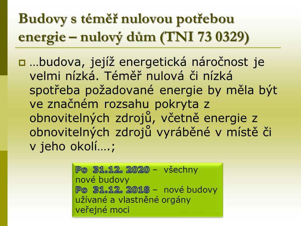 Budovy s téměř nulovou potřebou energie – nulový dům (TNI 73 0329)  …budova, jejíž energetická náročnost je velmi nízká.