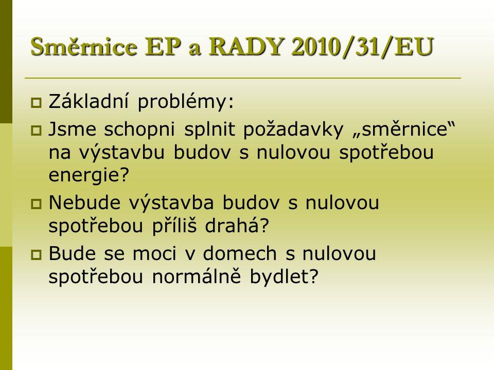 """Směrnice EP a RADY 2010/31/EU  Základní problémy:  Jsme schopni splnit požadavky """"směrnice na výstavbu budov s nulovou spotřebou energie."""