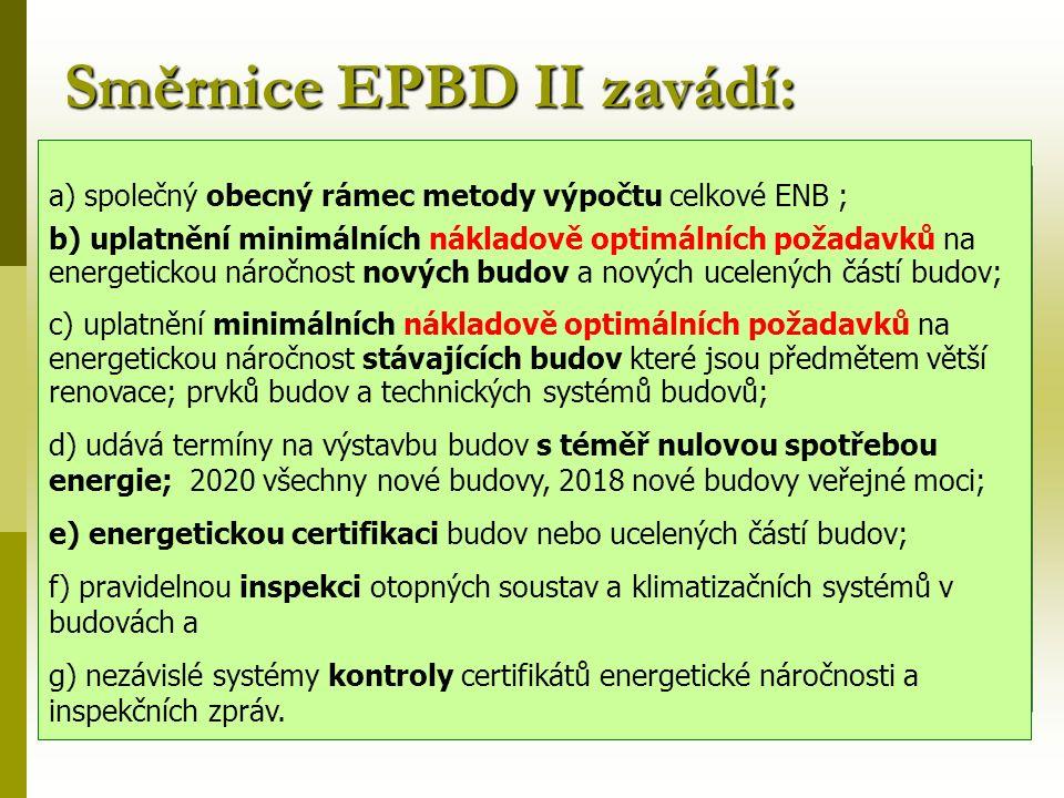 Směrnice EPBD II zavádí: a) společný obecný rámec metody výpočtu celkové ENB ; b) uplatnění minimálních nákladově optimálních požadavků na energetickou náročnost nových budov a nových ucelených částí budov; c) uplatnění minimálních nákladově optimálních požadavků na energetickou náročnost stávajících budov které jsou předmětem větší renovace; prvků budov a technických systémů budovů; d) udává termíny na výstavbu budov s téměř nulovou spotřebou energie; 2020 všechny nové budovy, 2018 nové budovy veřejné moci; e) energetickou certifikaci budov nebo ucelených částí budov; f) pravidelnou inspekci otopných soustav a klimatizačních systémů v budovách a g) nezávislé systémy kontroly certifikátů energetické náročnosti a inspekčních zpráv.