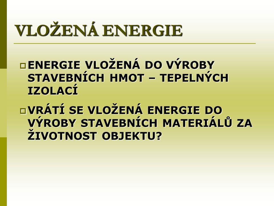 VLOŽENÁ ENERGIE  ENERGIE VLOŽENÁ DO VÝROBY STAVEBNÍCH HMOT – TEPELNÝCH IZOLACÍ  VRÁTÍ SE VLOŽENÁ ENERGIE DO VÝROBY STAVEBNÍCH MATERIÁLŮ ZA ŽIVOTNOST OBJEKTU